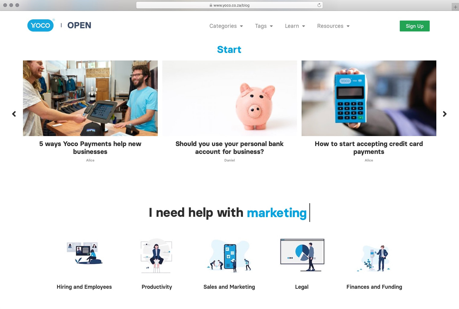 The Open by Yoco content hub