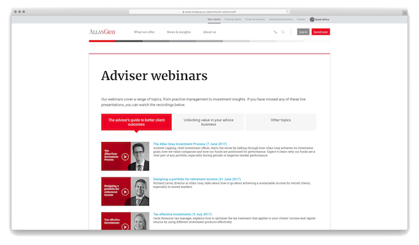 A screenshot the webpage for Allan Gray adviser webinars