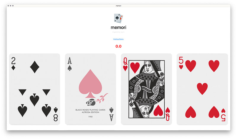 A screenshot of my card memory game built with React.