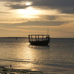 An idle boat near the beach in Zanzibar North