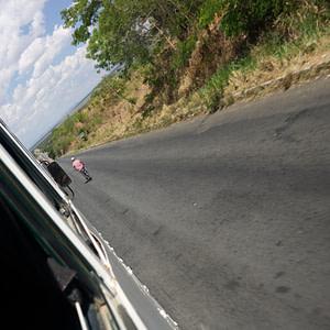 Following a cyclist into Morogoro, Tanzania