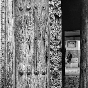 An ornate wooden door in Stone Town, Zanzibar