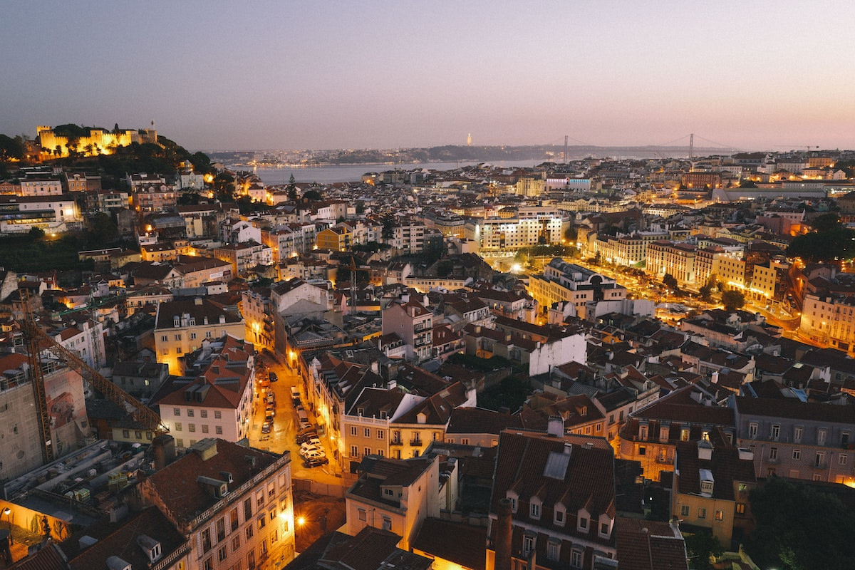 An image of Lisbon, Portugal at night.