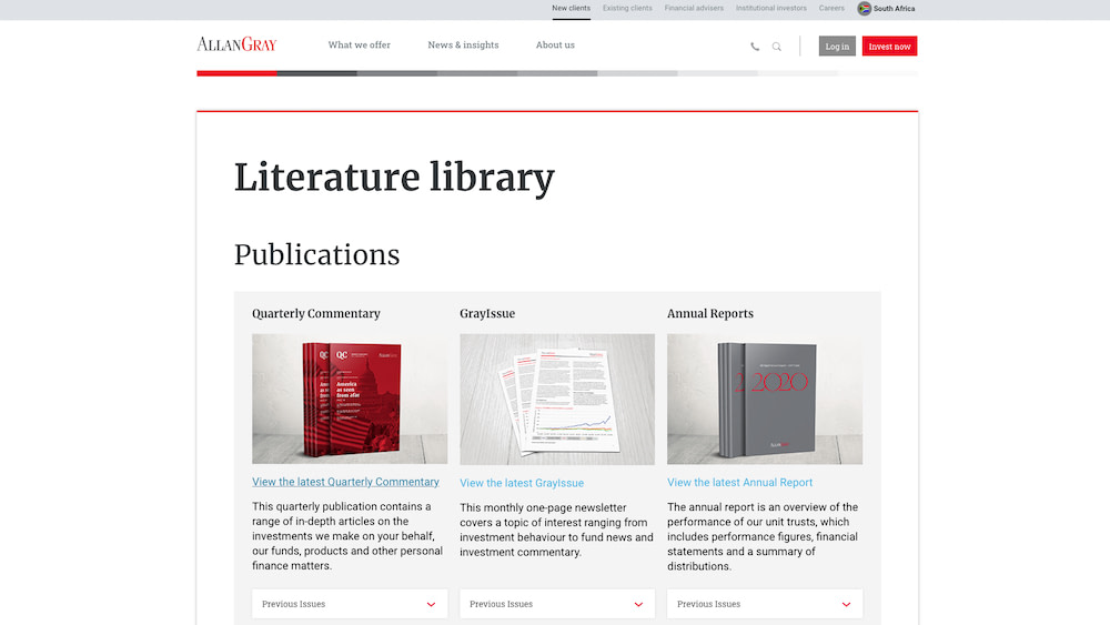 A screenshot of the publications I was involved in producing at Allan Gray as a writer and communications specialist.