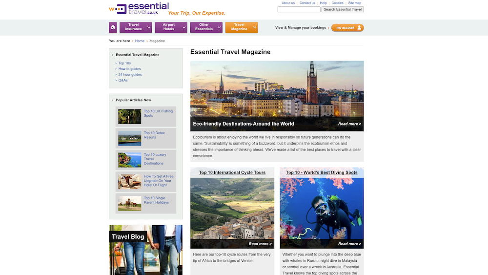 The Essential Travel UK magazine where I developed as an online writer and editor.
